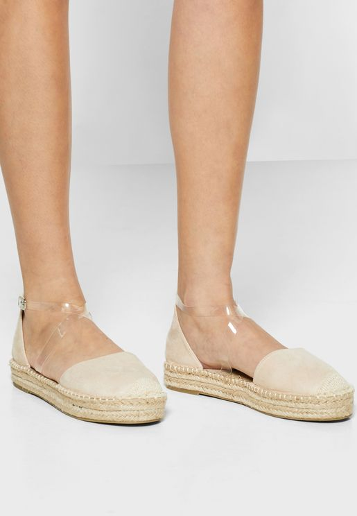 Flat Espadrille with clear strap