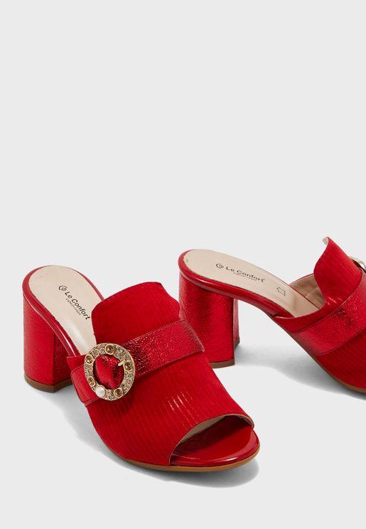 Shimmer Block Heel Sandal