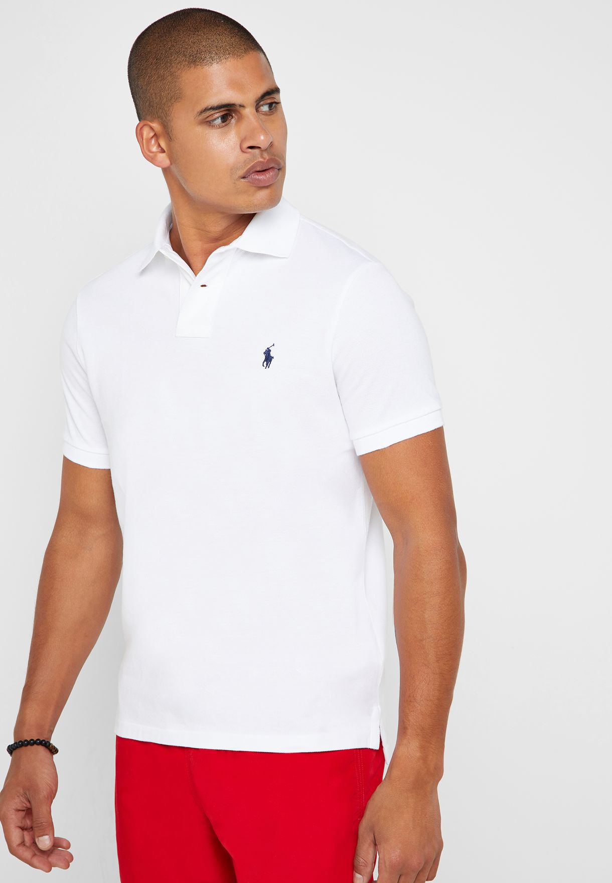 40d44d8c Shop Polo Ralph Lauren white Custom Slim Fit Mesh Polo 710666998002 for Men  in UAE - 13008AT75FOP