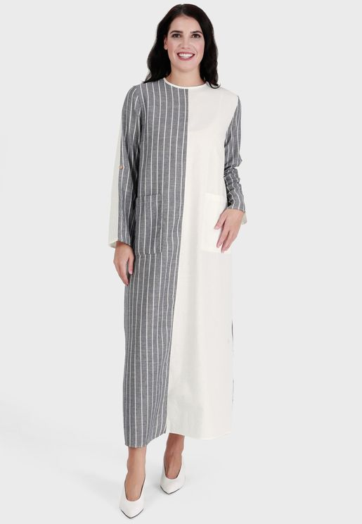 Striped Contrast Detail Dress
