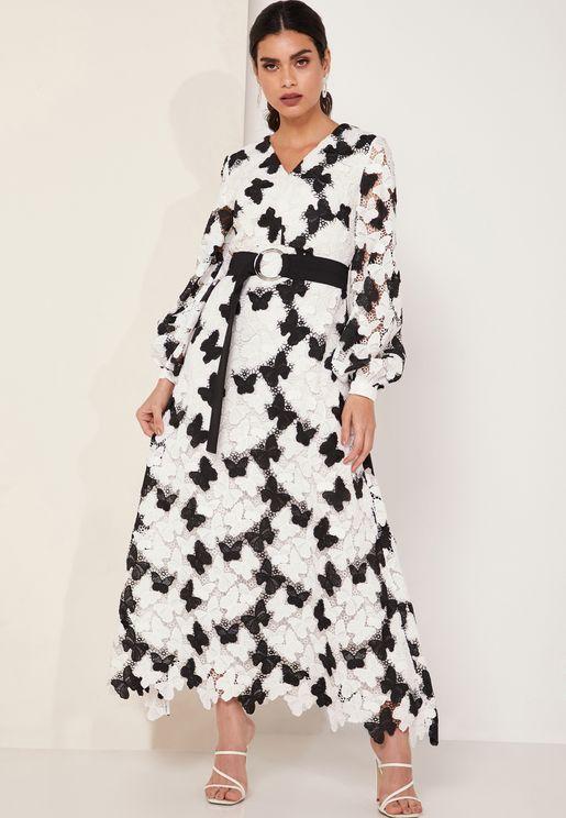 Take Flight Belted Lace Maxi Dress