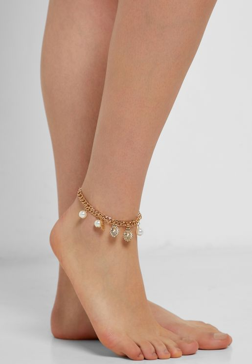 Anklet With Drop Detail