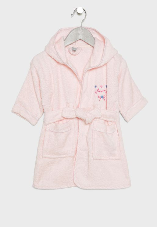Infant Heart Embroidered Bathrobe