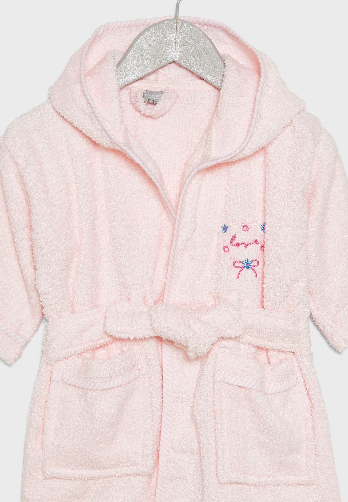 Infant Heart Embroidered Bathrobe