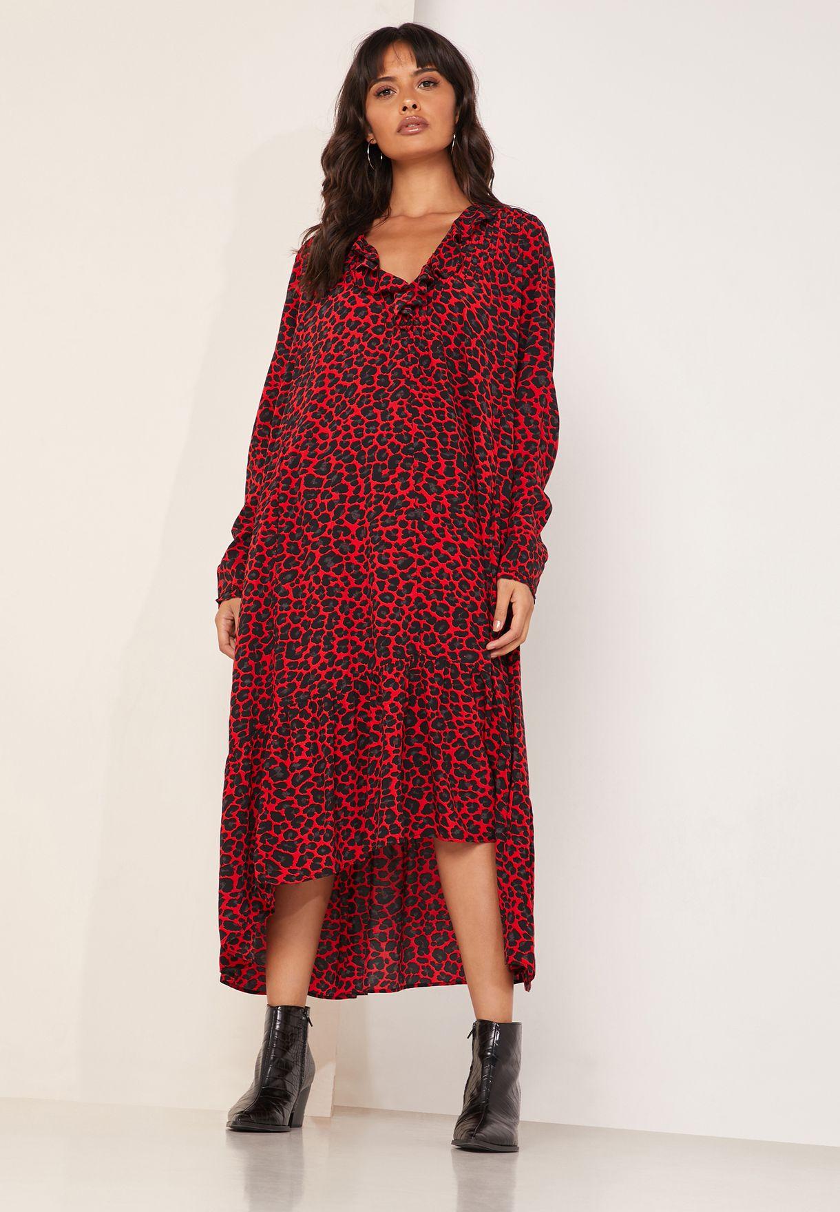 Ruffled V-Neck Leopard Print Dress