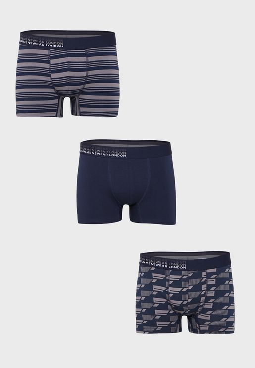 3 Pack Geo Print Trunks