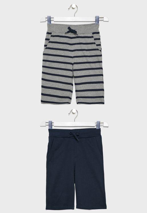 Kids 2 Pack Tie Waist Sweat Shorts