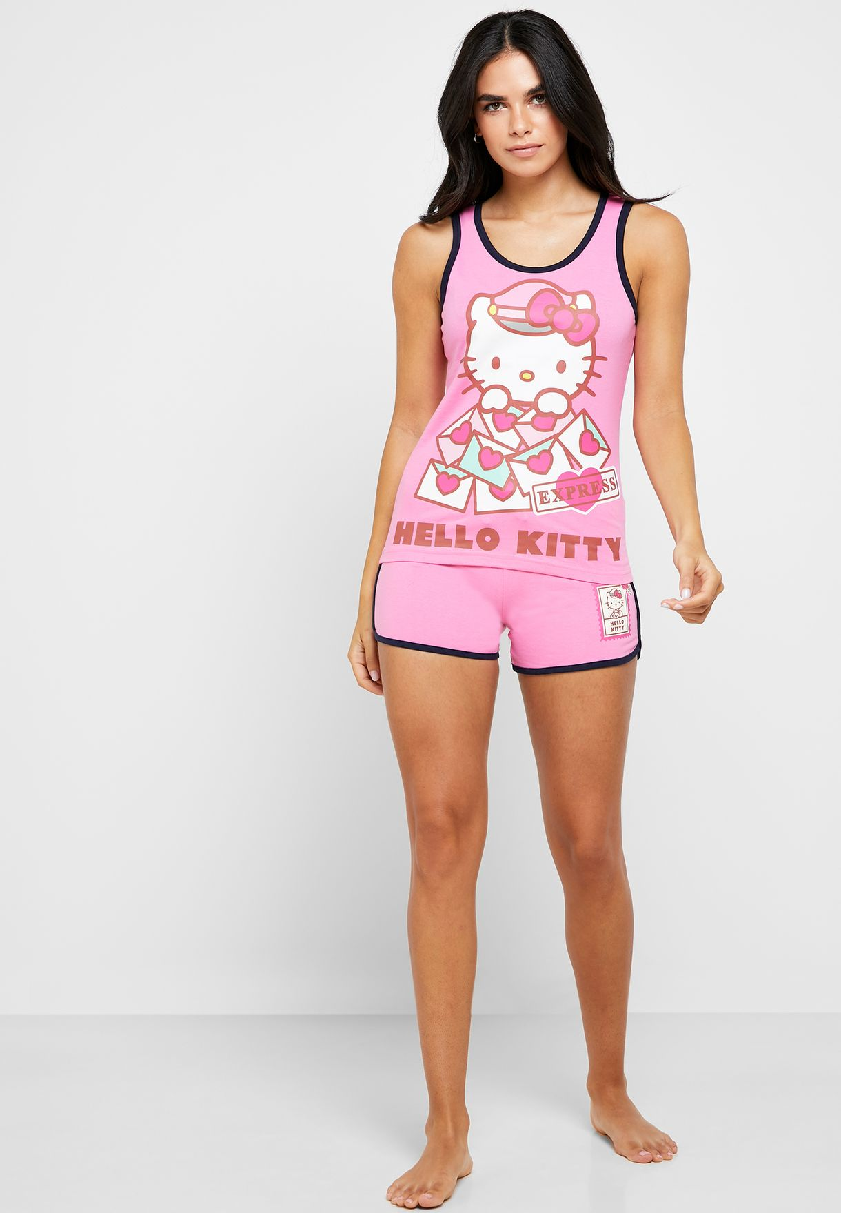 Hello Kitty Contrast Detail Tank Top & Shorts Set