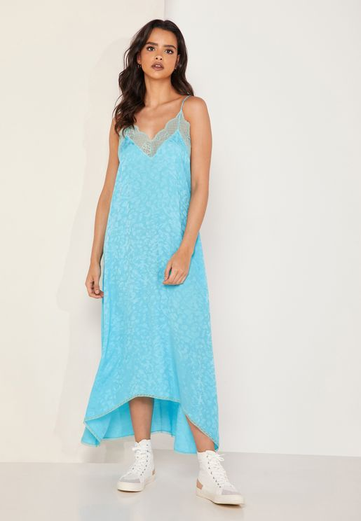 Risty Jacquard Lace Trim Cami Dress