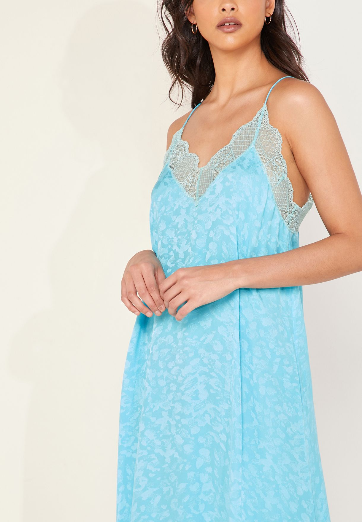 Risty Jacquard Lace Trim Cami Dress