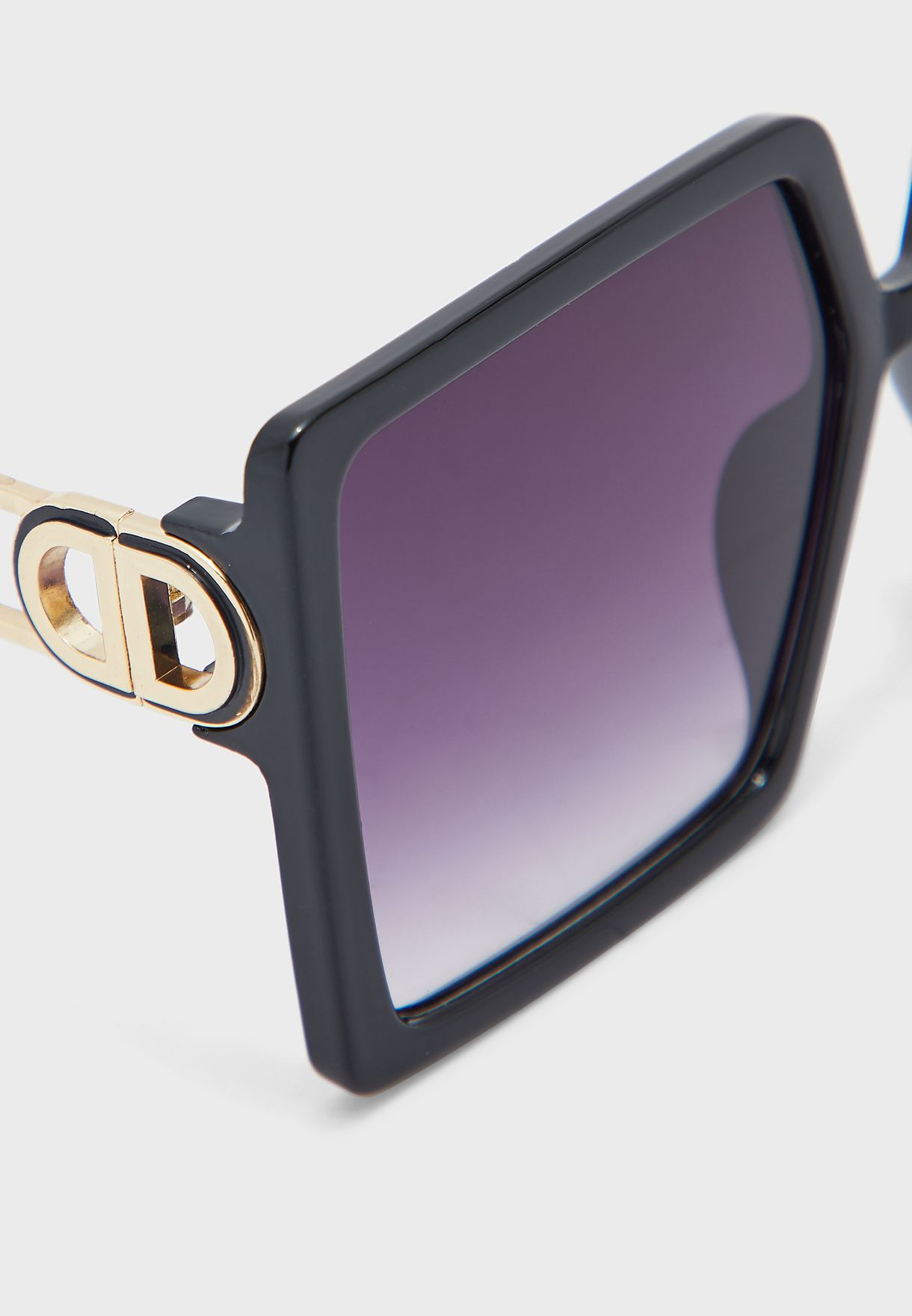 Square Sunglasses With Gold Metal Arms