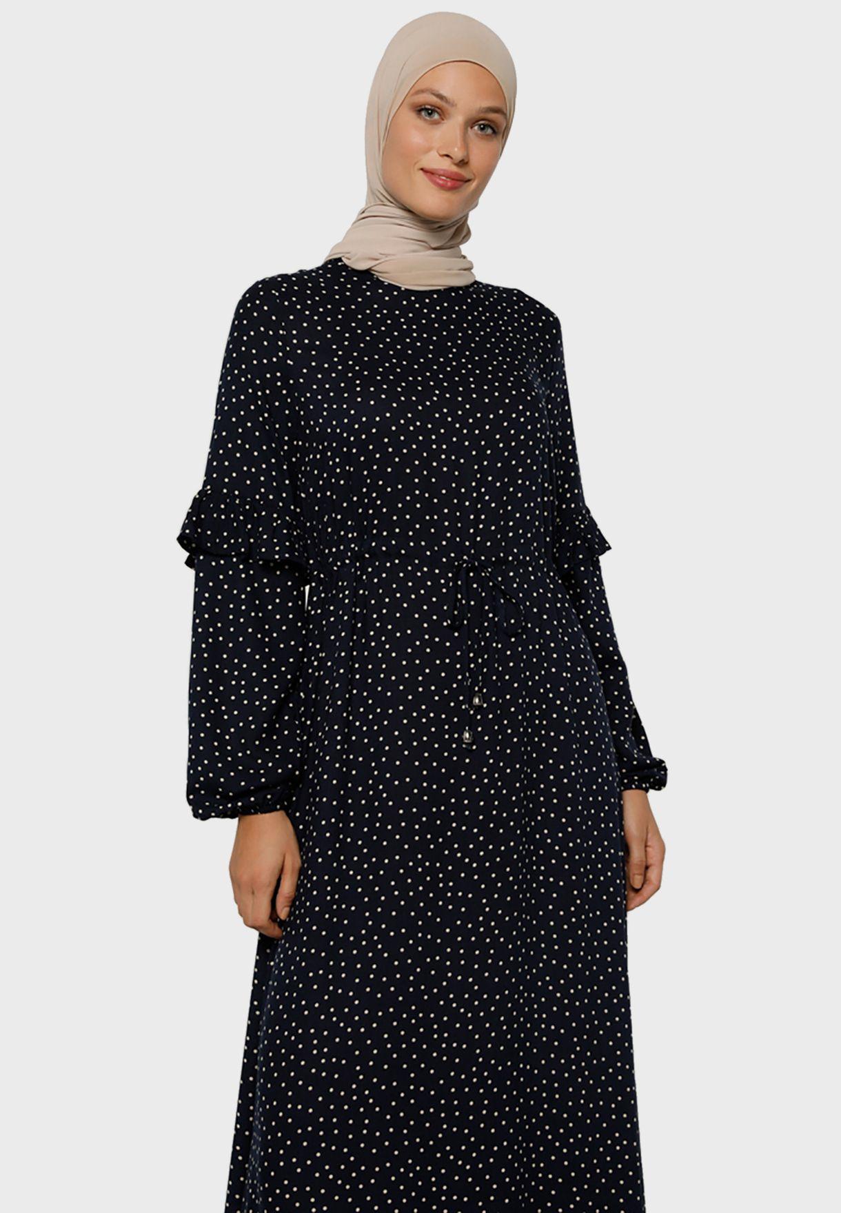 فستان مزين بطباعة نقاط