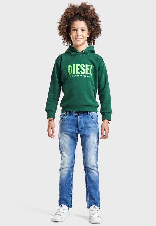 Kids Mid Wash Slim Fit Jogg Jeans