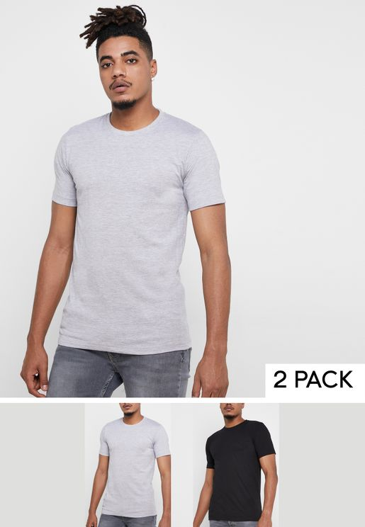 2 Pack Basic Crew Neck T-Shirts