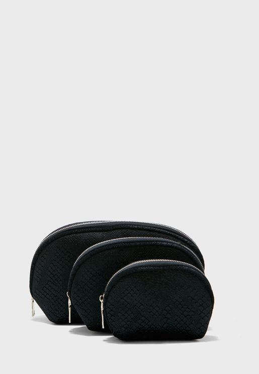 3 Pack Velvet Crocodile Cosmetic Bag