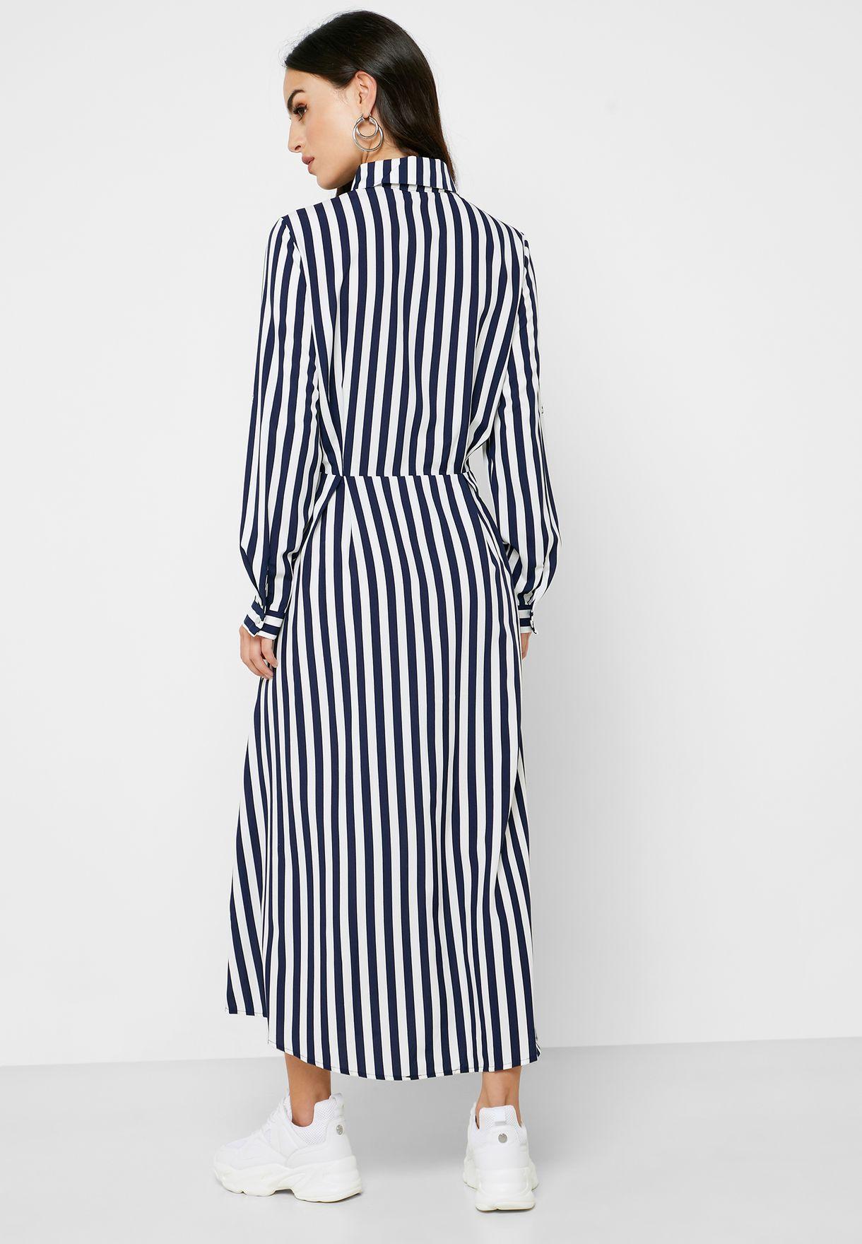Striped Shirt Midi Dress