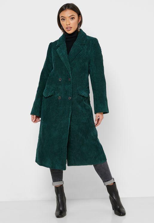 معطف طويل محزز