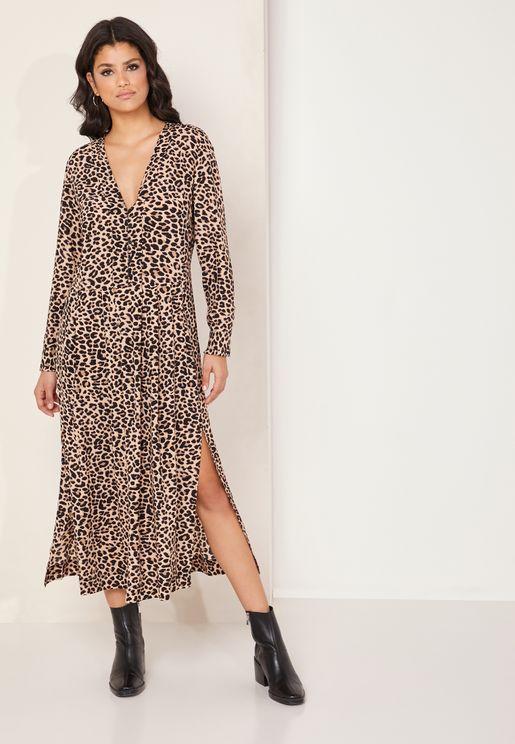 Roux Leopard Print Maxi Dress