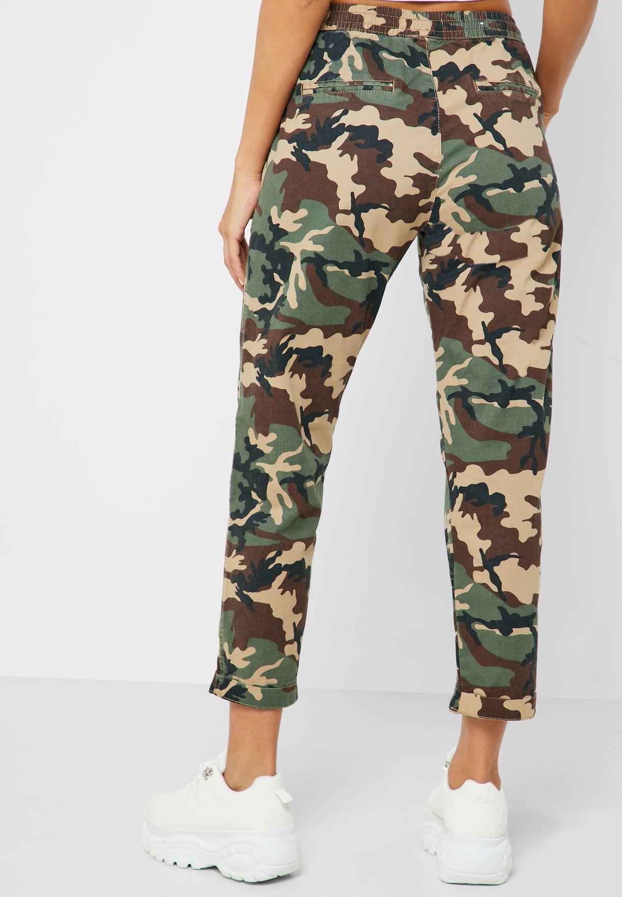 Tie Waist Camo Print Pants