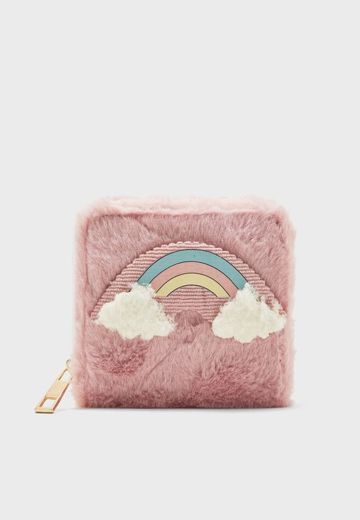 Fluffy Rainbow Mini Cosmetic Bag