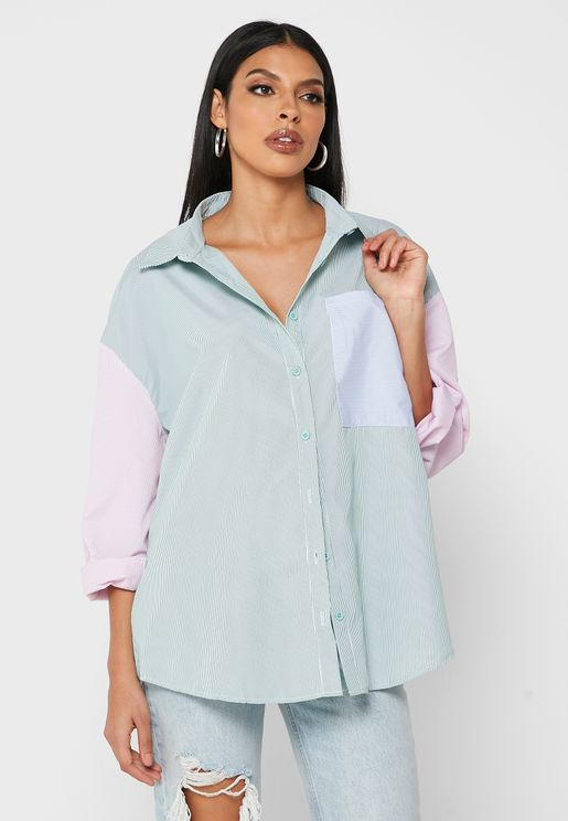 قميص باكمام بنمط كتل الالوان