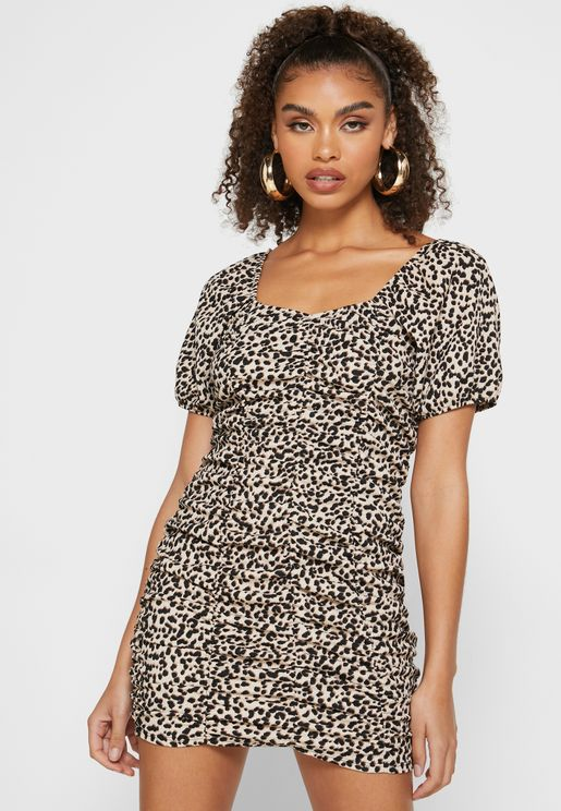 Ruched Printed Dress