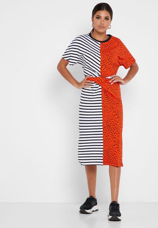 Printed Colorblock Dress