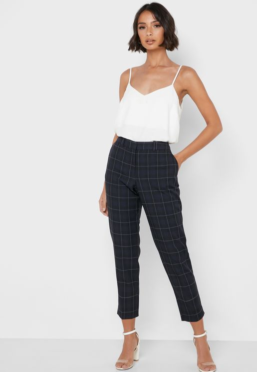Ankle Grazer Checked Pants