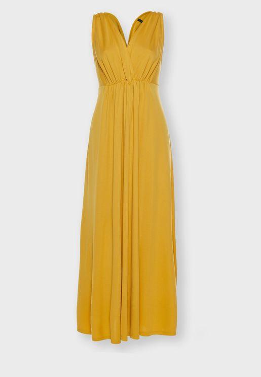 Pleated Plunge Dress
