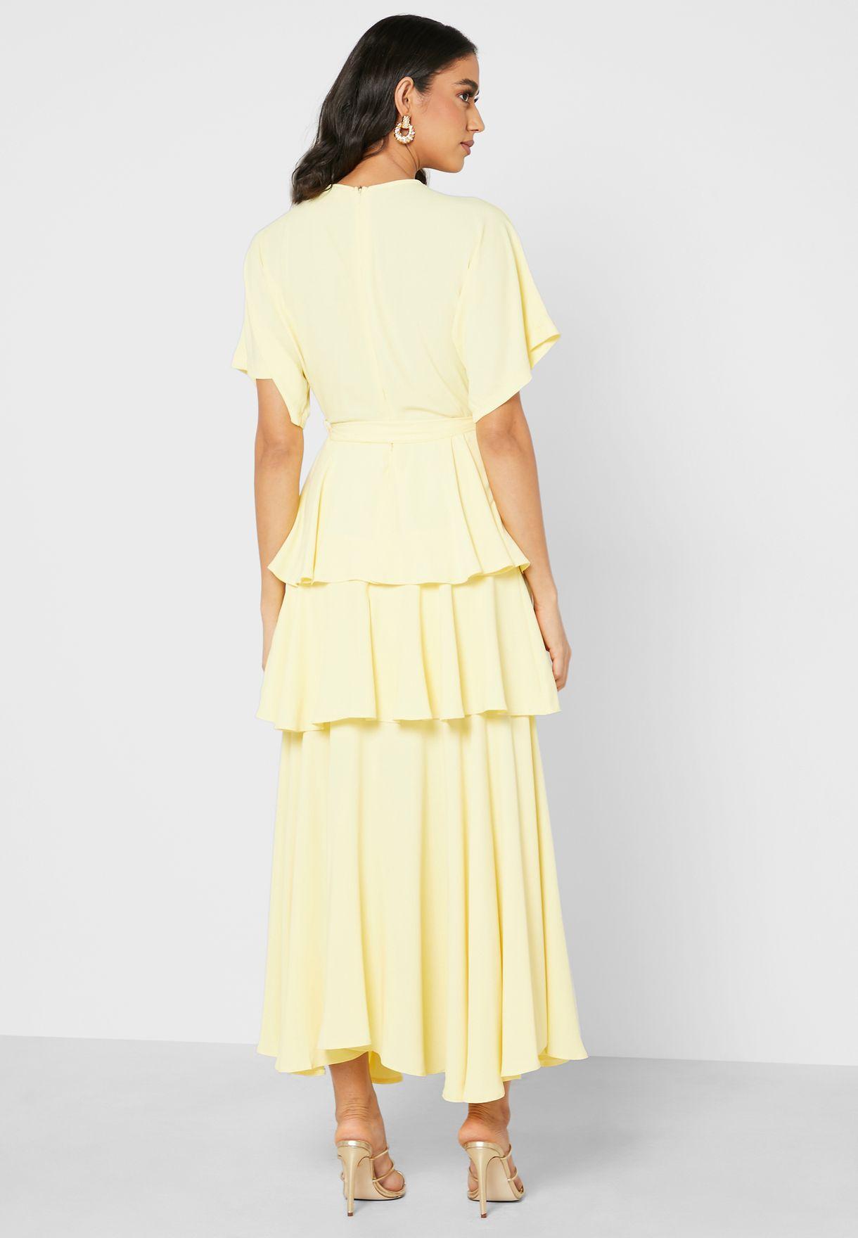 Kimono Sleeve Ruffle Maxi Dress