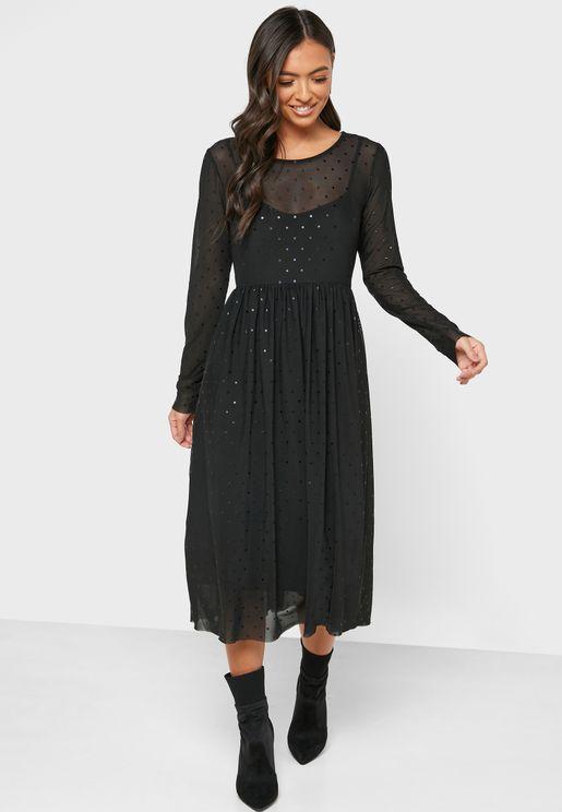 Sheer Detail Pleated Dress