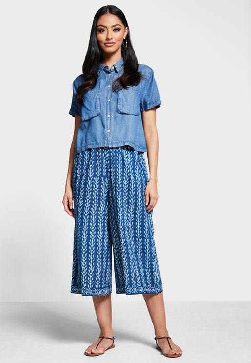 Cotton Printed Culotte Pant
