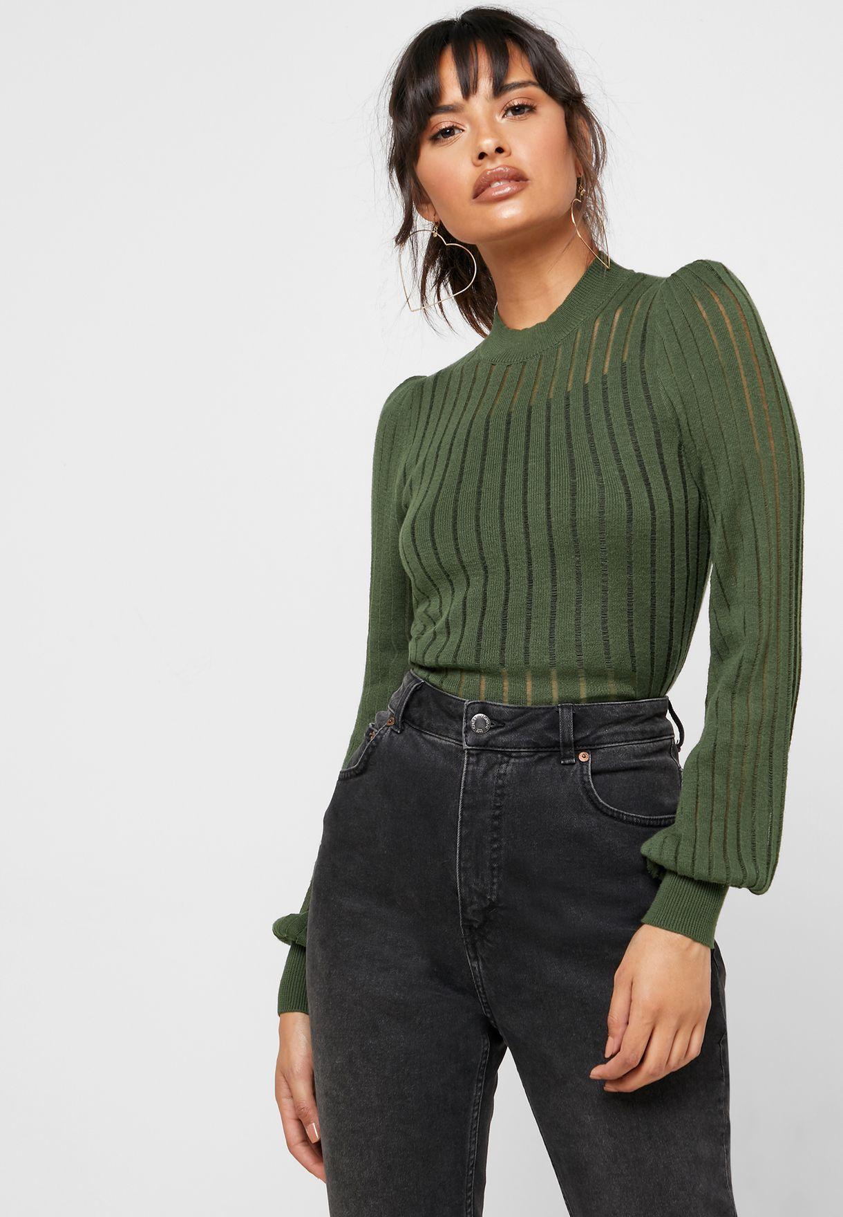 High Neck Semi Sheer Sweater