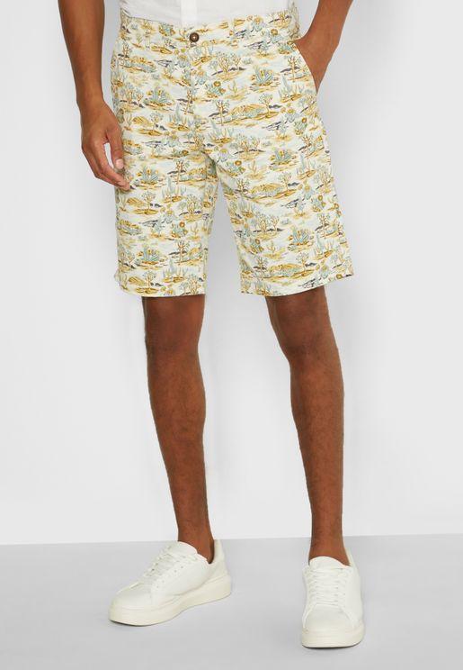Roll Hem Printed Shorts