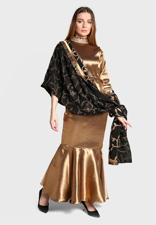 Ruffle Hem High Neck Dress