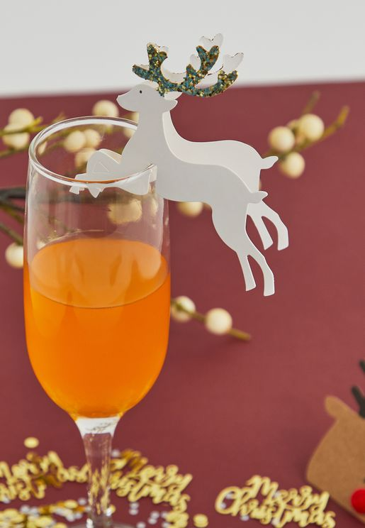 Reindeer Glitter Glass Decoration