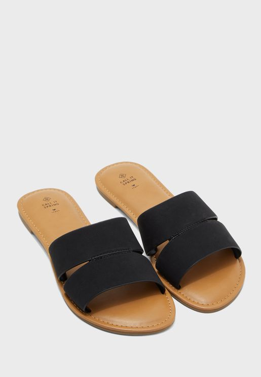 Zoeyy Double Strap Flat Sandal