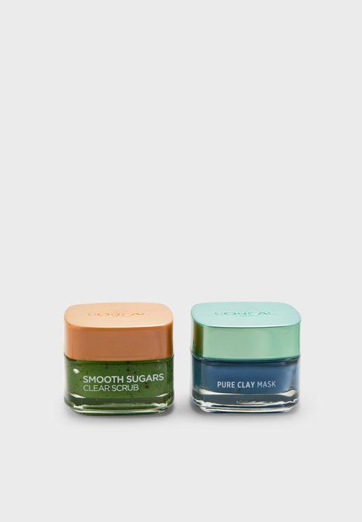 Pure Clay Mask Marine Algae + Sugar Scrub Set