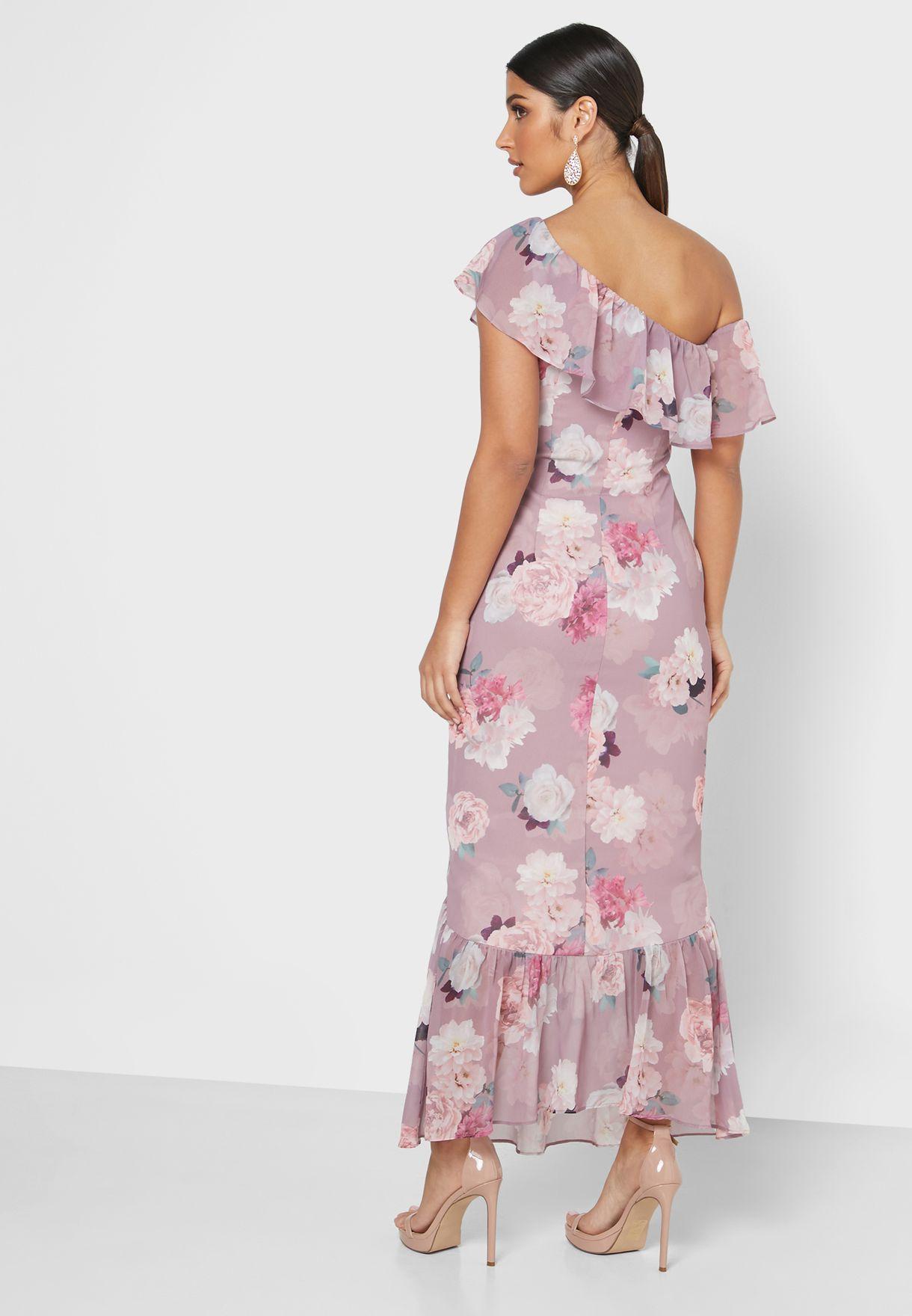 فستان مطبع وبكتف واحد