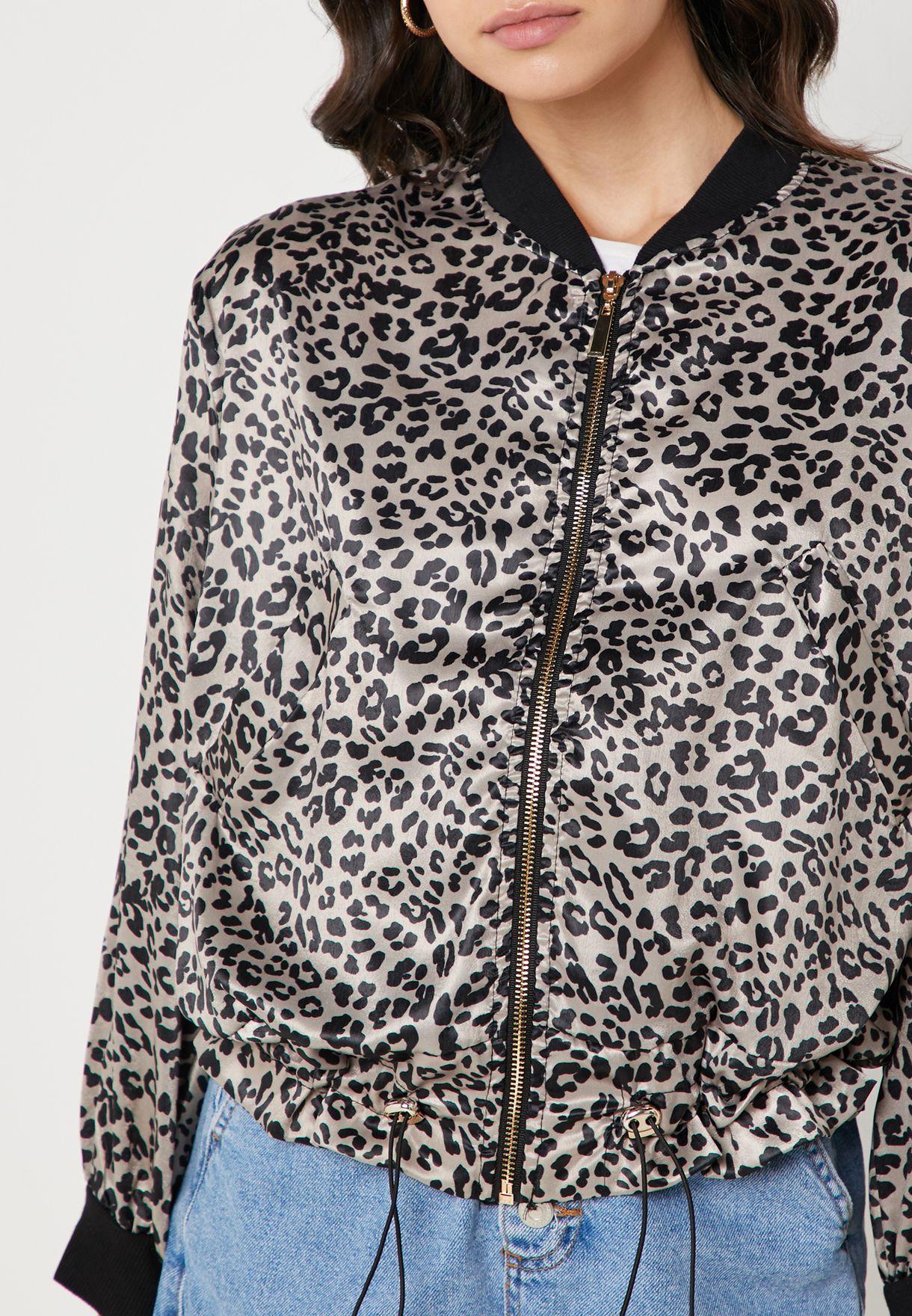 Leopard Print Drawcord Bomber Jacket