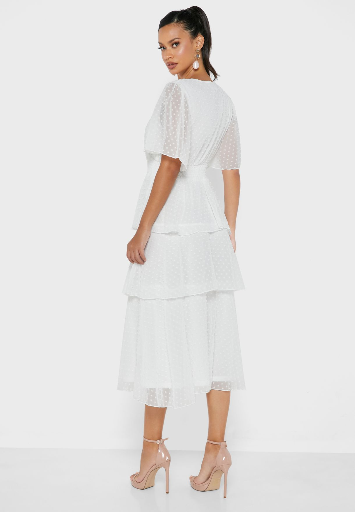 Flute Sleeve Wrap Dress