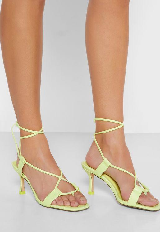 Strap Tie Up Kitten Heel Sandal