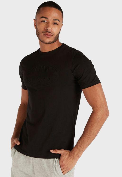Embossed Batman Logo Crew Neck T-Shirt