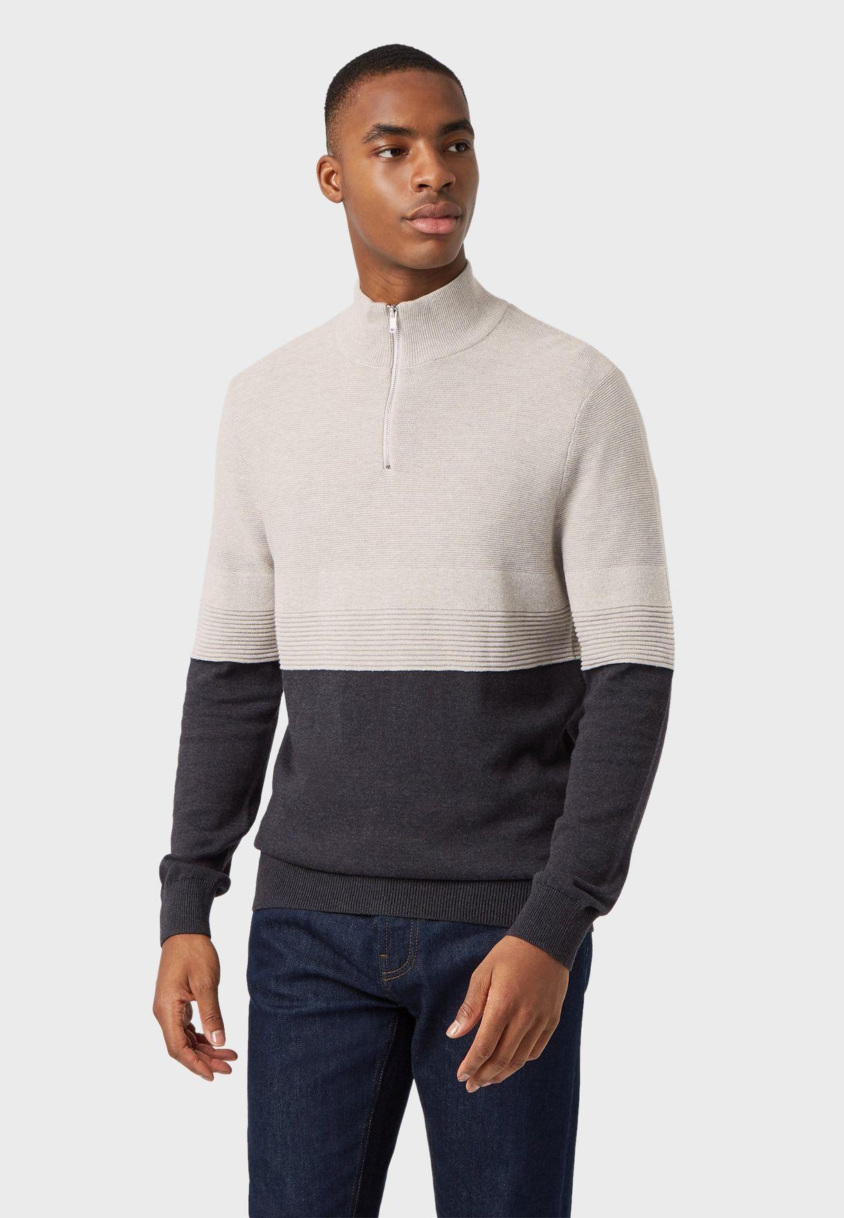 Color Block Half Zip Sweater