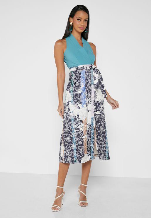 Surplice Neck Contrast Detail Dress