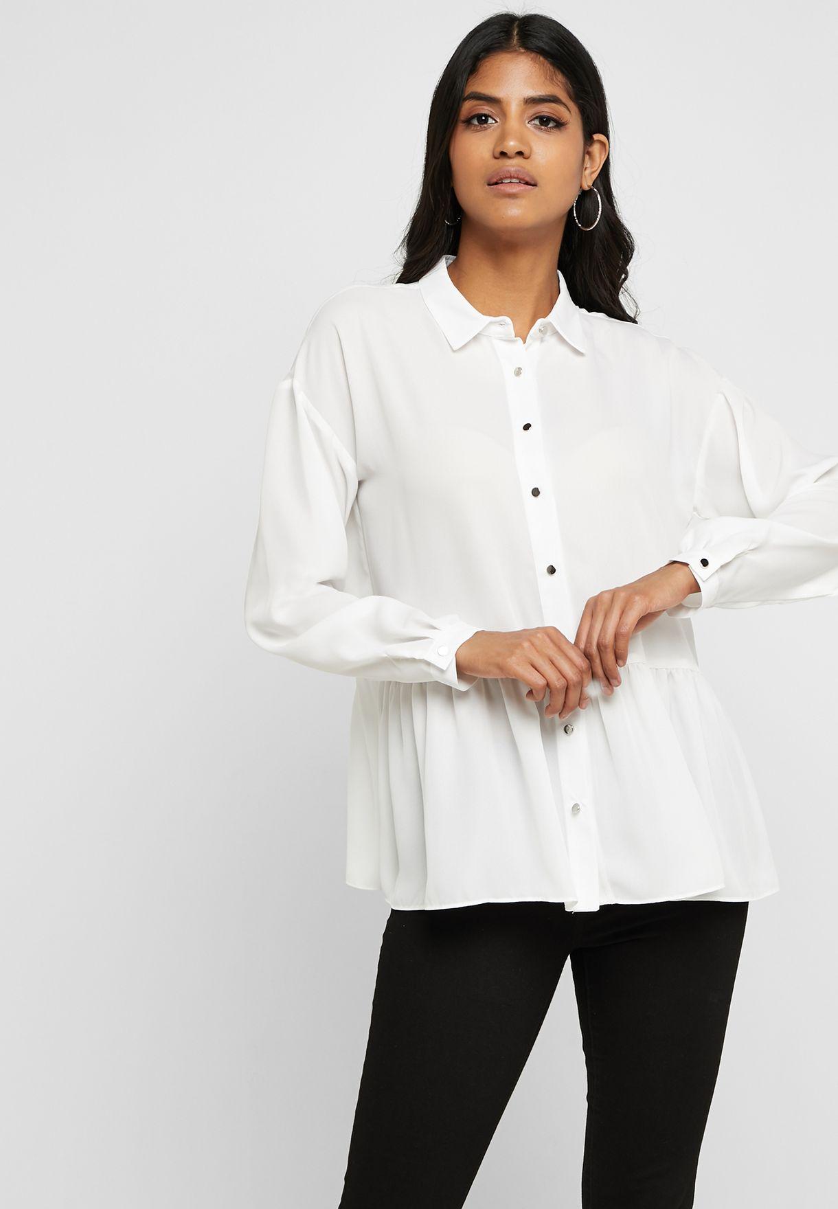 b321a087a69 Shop Wallis white Peplum Long Sleeve Shirt 205273006 for Women in ...