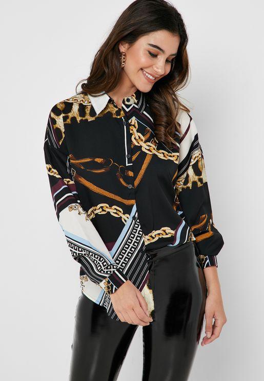 Mixed Print Shirt