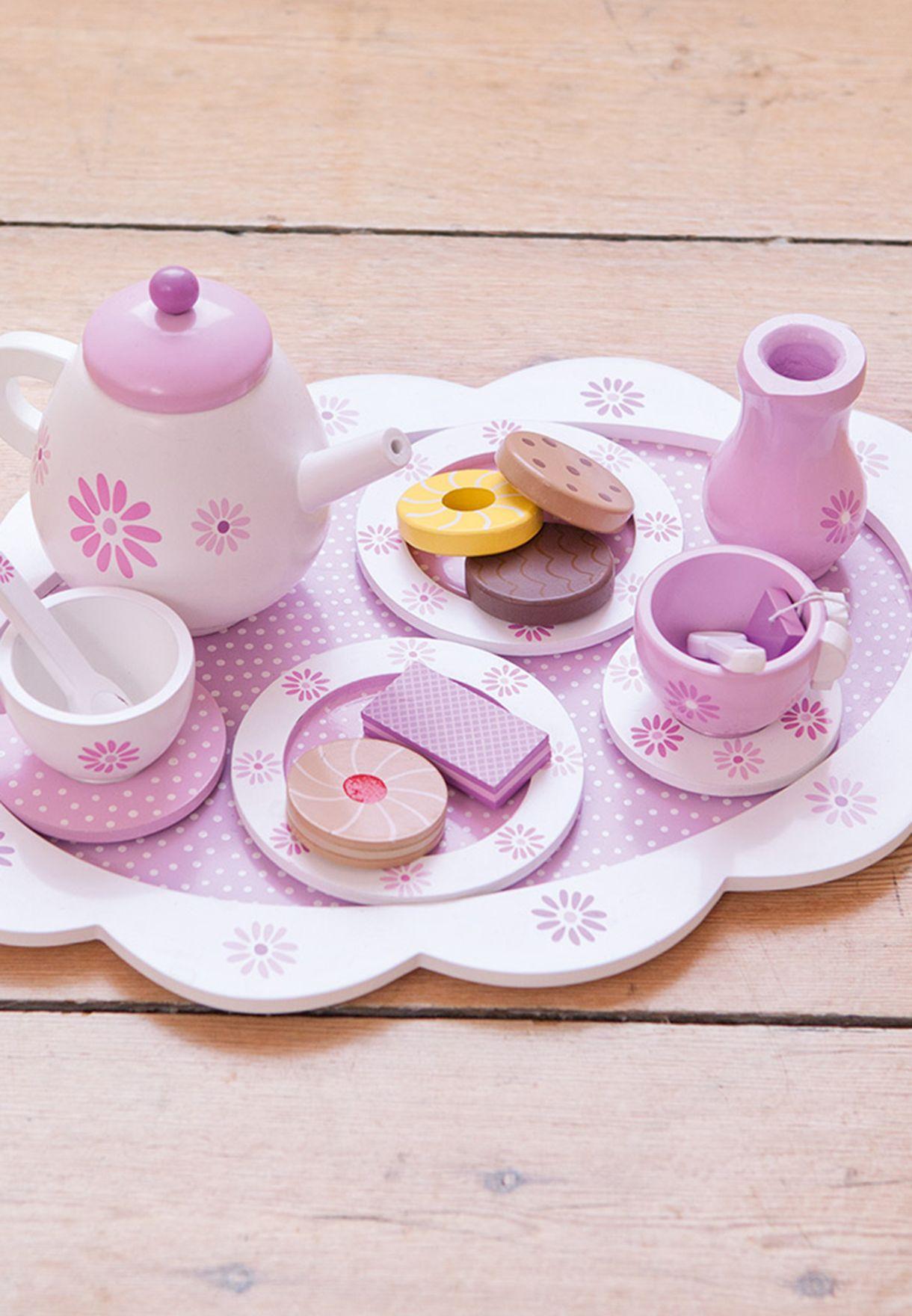 لعبة ابريق شاي واكواب خشبية