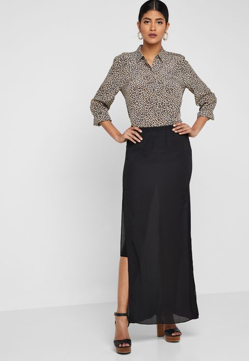 Sheer Overlay Maxi Skirt