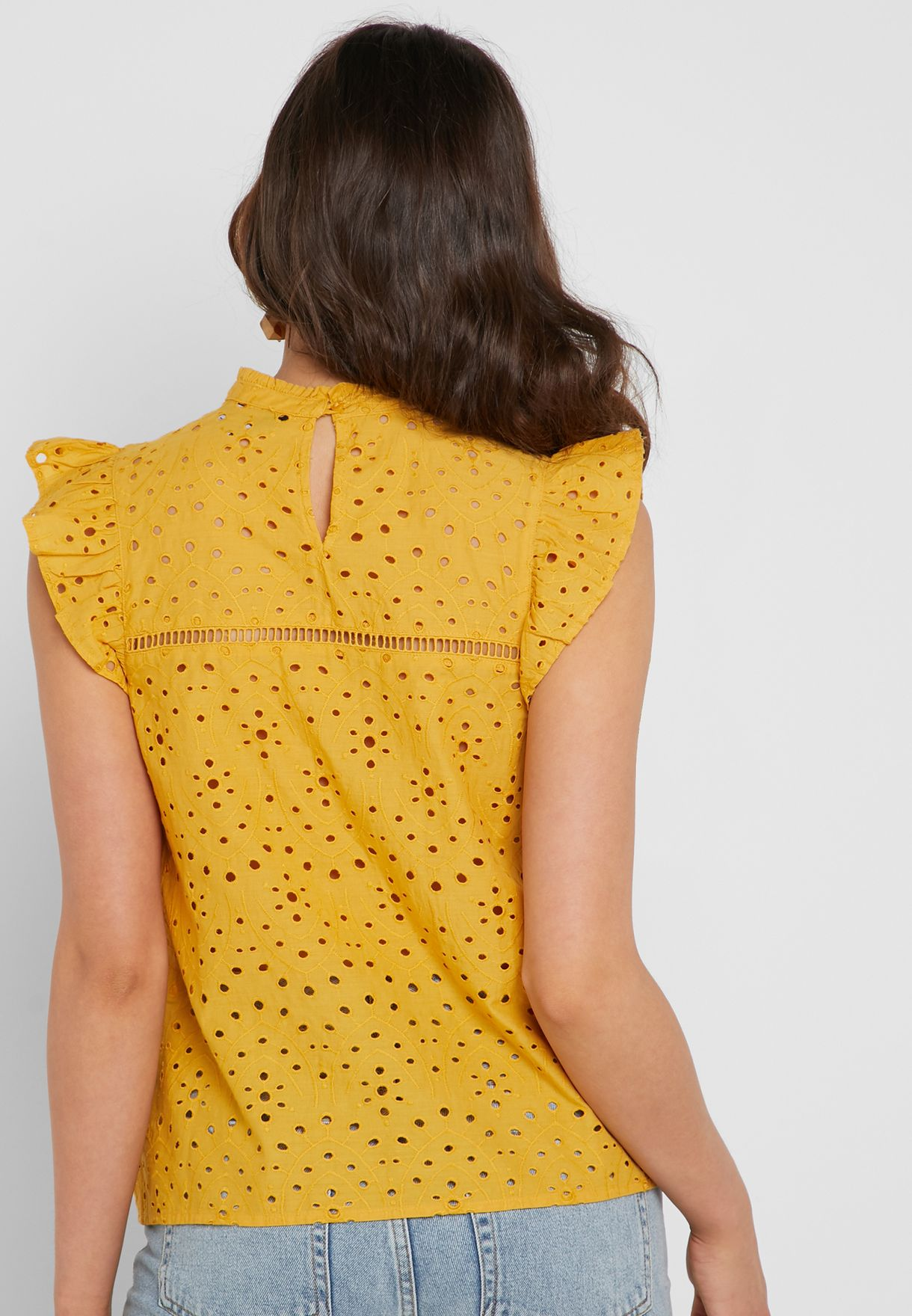 High Neck Broiderie Top